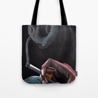 smoking Tote Bags featuring Smoking by Tina Mooney