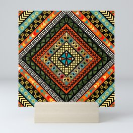 Rhomboid colorful background with ethnic motifs Mini Art Print