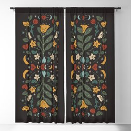 Folk Floral | Fall Colors Blackout Curtain
