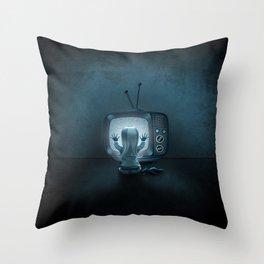 Tune in Poltergeists Throw Pillow