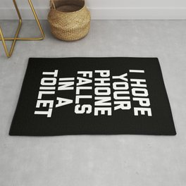 Phone In Toilet Funny Quote Rug