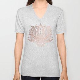 Botanical Lotus - Rose Gold Unisex V-Neck
