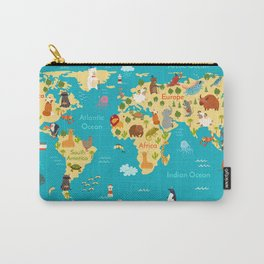 Animals world map. Vector illustration, preschool,  baby, continents, oceans, drawn, Earth. Carry-All Pouch