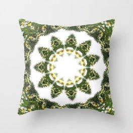 Little White Wildflower Kaleidoscope Art 5 Throw Pillow