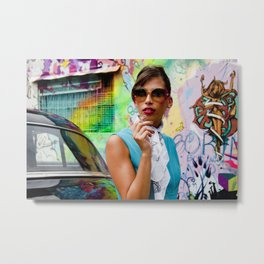 Woman and graffitti Metal Print