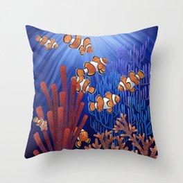 Clown Fish tank Throw Pillow