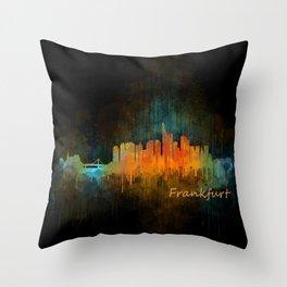 Frankfurt am Main, City Cityscape Skyline watercolor art v4 Throw Pillow