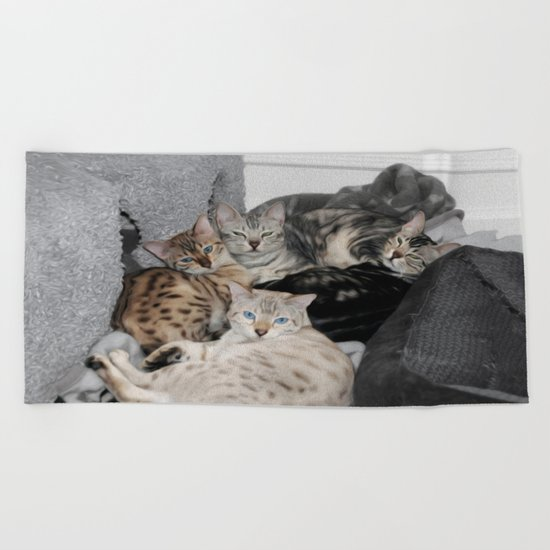 Bengal Cat Kitty Pile  Beach Towel
