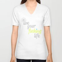 yolo V-neck T-shirts featuring #YOLO by Shipwreck Moon Designs