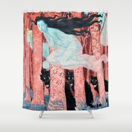 12,000pixel-500dpi - Eugene Grasset - Three women and three wolves - Digital Remastered Shower Curtain