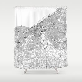 Cleveland White Map Shower Curtain