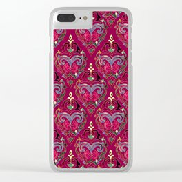 Persian Floral pattern  with painted texture and gold Clear iPhone Case