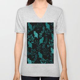 Watercolor Floral and Cat IV Unisex V-Neck