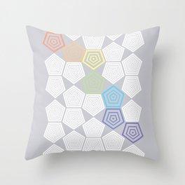 Colour Pop Pentagons - Pastel Rainbow Throw Pillow
