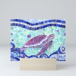 Sea Turtle Watercolor Mosaic Mini Art Print