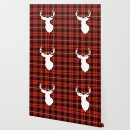 Winter Cabin Western Country Red Buffalo Plaid White Deer Silhouette  Wallpaper