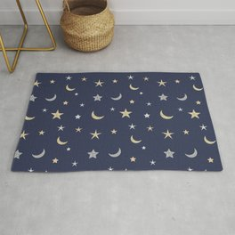 Gold and silver moon and star pattern on navy blue background Rug