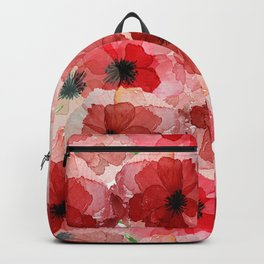 Pressed Poppy Blossom Pattern Backpack