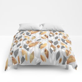 Falling Gold Leaves Comforters