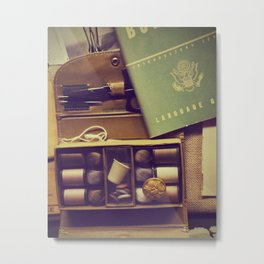 Vintage sewing box | Old army objects Metal Print