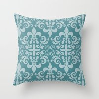 damask Throw Pillows featuring Damask by Xiao Twins
