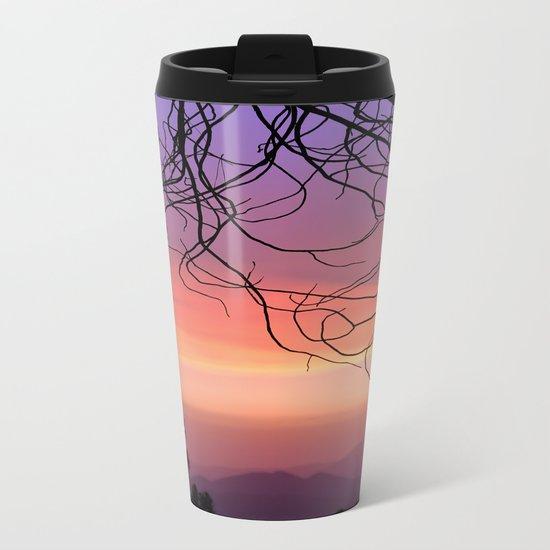 Purple sunset. At the woods Metal Travel Mug