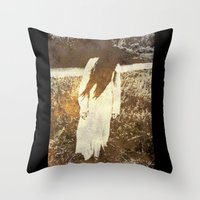 three of the possessed Throw Pillows featuring Possessed  by Esoteria