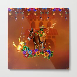 Funny mexican cactus with hat and donkey Metal Print