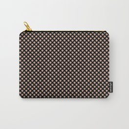 Black and Maple Sugar Polka Dots Carry-All Pouch