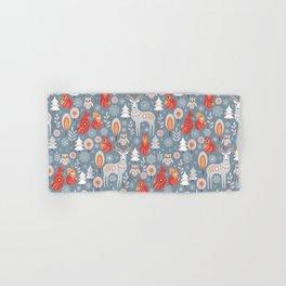 Fairy forest, deer, owls, foxes. Decorative pattern in Scandinavian style. Folk art. Hand & Bath Towel