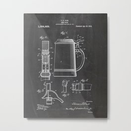 Beer stein patent Drawing Metal Print