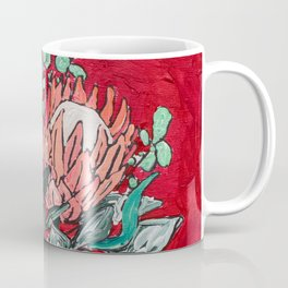 Delft Bird Vase of Proteas on Red Coffee Mug