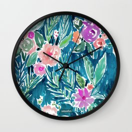 NAVY PARADISE FLORAL Tropical Hibiscus Palm Pattern Wall Clock