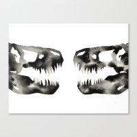 trex Canvas Prints featuring Inkblot Trex Dinosaur by GeometricInk