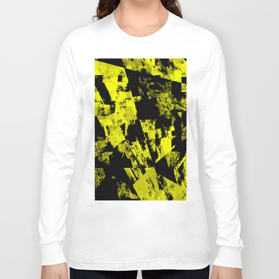 Fractured Warning - Black and yellow, abstract, textured painting Long Sleeve T-shirt