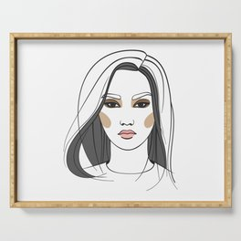 Asian woman with long hair. Abstract face. Fashion illustration Serving Tray