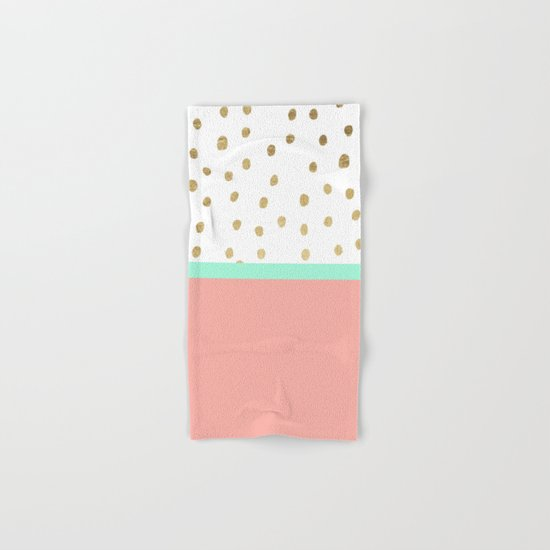 Coral teal color block faux gold foil polka dots pattern  Hand & Bath Towel