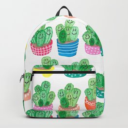 Cacti in fancy pots with smily faces. Backpack