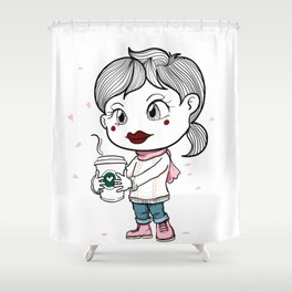 I love to drink coffee with blossom flower. Shower Curtain