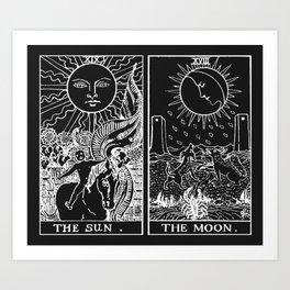 The Sun and Moon Tarot Cards | Obsidian & Pearl Art Print
