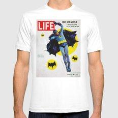 Adam West - Bat Man Life Magazine Cover White MEDIUM Mens Fitted Tee