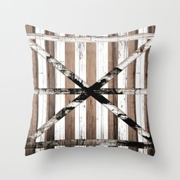 Rustic Multi Wood Barn Door Throw Pillow