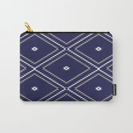 Navajo Pattern - Tan / White / Navy Carry-All Pouch