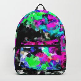 psychedelic splash painting abstract texture in pink purple blue green black Backpack