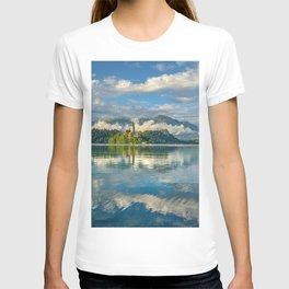 forest summer mountains lake bled church of assumption beauty julian alps slovenia T-shirt