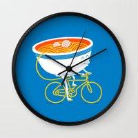 ramen Wall Clocks featuring GoGo Ramen by mogumogu