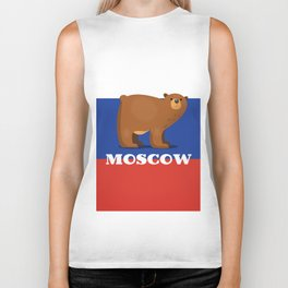 Moscow Bear and flag travel poster. Biker Tank