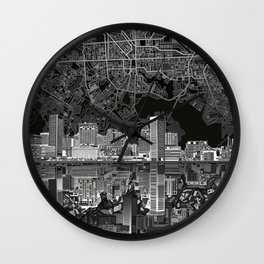 baltimore city skyline abstract 3 Wall Clock
