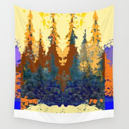 Spruce Trees Forest Browns-sage Green Modern Landscape Wall Tapestry