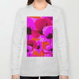 Pink And Red Poppies On A Orange Background - Summer Juicy Color Palette - Retro Mood Long Sleeve T-shirt